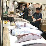 Tuna being cut up for customers