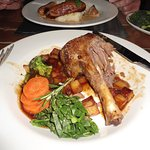 Tasty Lamb Shank with parmentier potatoes & veg.