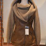 Leather and Knitted Wool Hooded Jacket