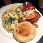 Custom Omelet with Potatoes and Muffin