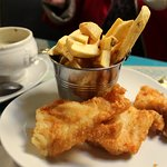 Large serving of crispy cod fish, and delicious fries and chowder w/brown bread.