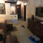Worn hotel room.