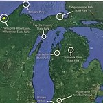 The locations of the few other old growth forests in Michigan
