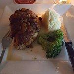 Pork loin with apple sauce.