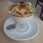 Dessert du chef (crème à la fleur d'oranger, pistache et mande)