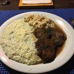 Filé com arroz de gorgonzola