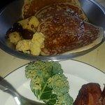 Veggie quiche. Pancakes with eggs