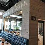 Love the modern Greek design of this new restaurant space.