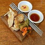 Pork and Shrimp Dumplings w/ Soy Ginger Dipping Sauce