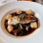 pan roasted grouper with mushroom broth and crispy rice