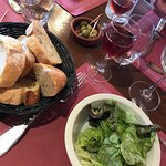 Salad, Bread, olives and wine...