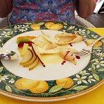 Desert with lemon tasting cream & fruit