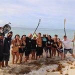 Zane Kekoa Schweitzer paddleboarding with the Compas team, just like a dream in Playa del Carmen