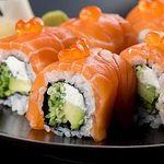 Savory cheese,cucumber, avocado all wripe in Salmon with a tantalizing topping of SalmonRoe !