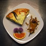 Baked Bosc Pear, Edible chive flowers from property garden & Breakfast Frittata