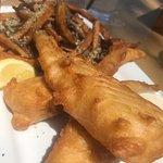 The traditional Irish pub fare includes fish & chips which are a delight