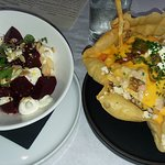 Beets with goat cheese and poutine