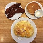 Western Omelette, Bacon, Pancakes