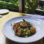 shrimp & scallop risotto at a window table