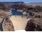 Spectacular view of the Hoover Dam from the Memorial Bridge