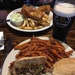 Great lunch! Fish&Chips, Cheesesteak Sub&Sweet Potato Fries and Guinness.