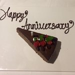 Thoughtful complimentary anniversary dessert