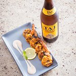 Pepper Shrimp with Indian beer