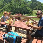Enjoying lunch box with local products at the top of hill!