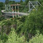 Steep canyon walls drop 80 metres down from one-lane suspension bridge
