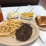 Hamburger steak, fries, cole slaw, mac and cheese, toast and iced tea for under $10