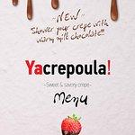 Here is the menu of our crepe list. Yacrepoula at Yasouvlaki. Naxos Greece