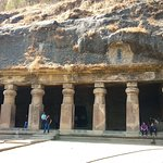In Front of the second cave of the Elephanta Caves.