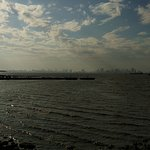 The Mumbai city line from the Elephanta caves.