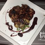 Pork fillet with dried figs, wine sauce and baby potatoes grilled in salt ! exclusive @ Mourayo