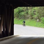 covered bridge near the free parking and trailheads