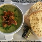 Parsnip, leek and parsley soup topped with sourdough croutons, parsnip crisps and fresh parsl