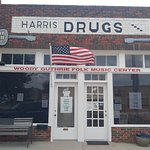 The old Harris Drug Store is where Woody worked and got his first guitar.