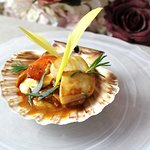 Scallops and Barbecue Chicken, sweetcorn shoots