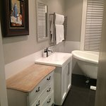 The lovely bathroom & color scheme felt clean and streamline.
