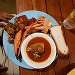 fish head soup, crab legs, prawns