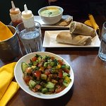 Lentil soup, falafel wraps and fattoush salad