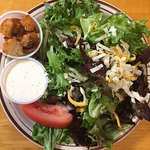 Delicioius garden salad with homemade ranch dressing.