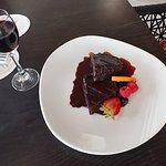 Gluten-free, dairy-free chocolate cake with the Port pairing. Amazing!