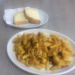 Chicken curry, chips & doorstep b&b