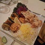 Salmon, rice, and veggies