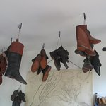shoes hanging in the shoemaker's shop