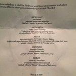 Menu from Sud Italia's Barolo dinner