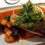 Salmon, king prawns, mussels