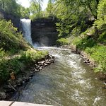 down the stairs by Minnehaha Falls