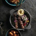 Beef Skewer, Garlic Potatoes, Hummus, Fish